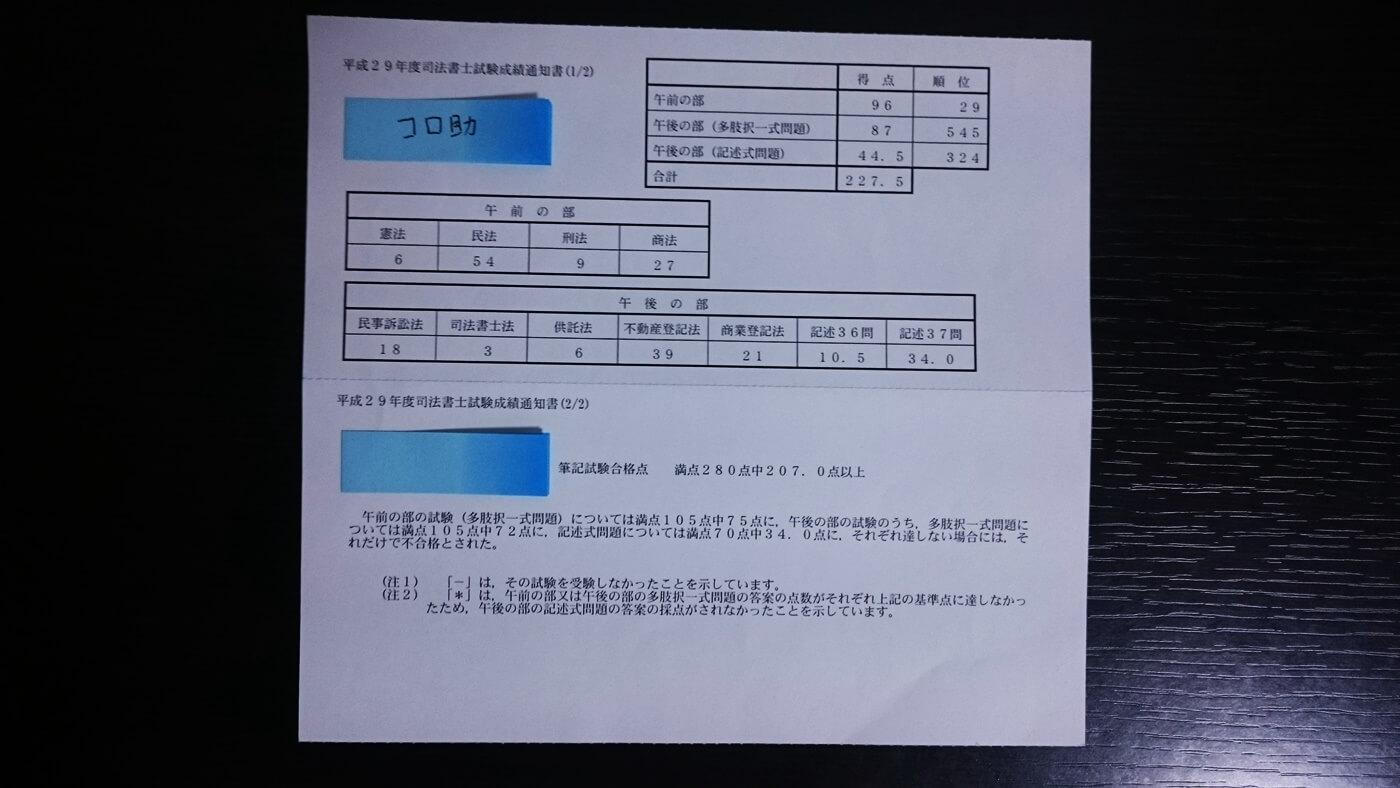 平成29年度司法書士試験の成績通知